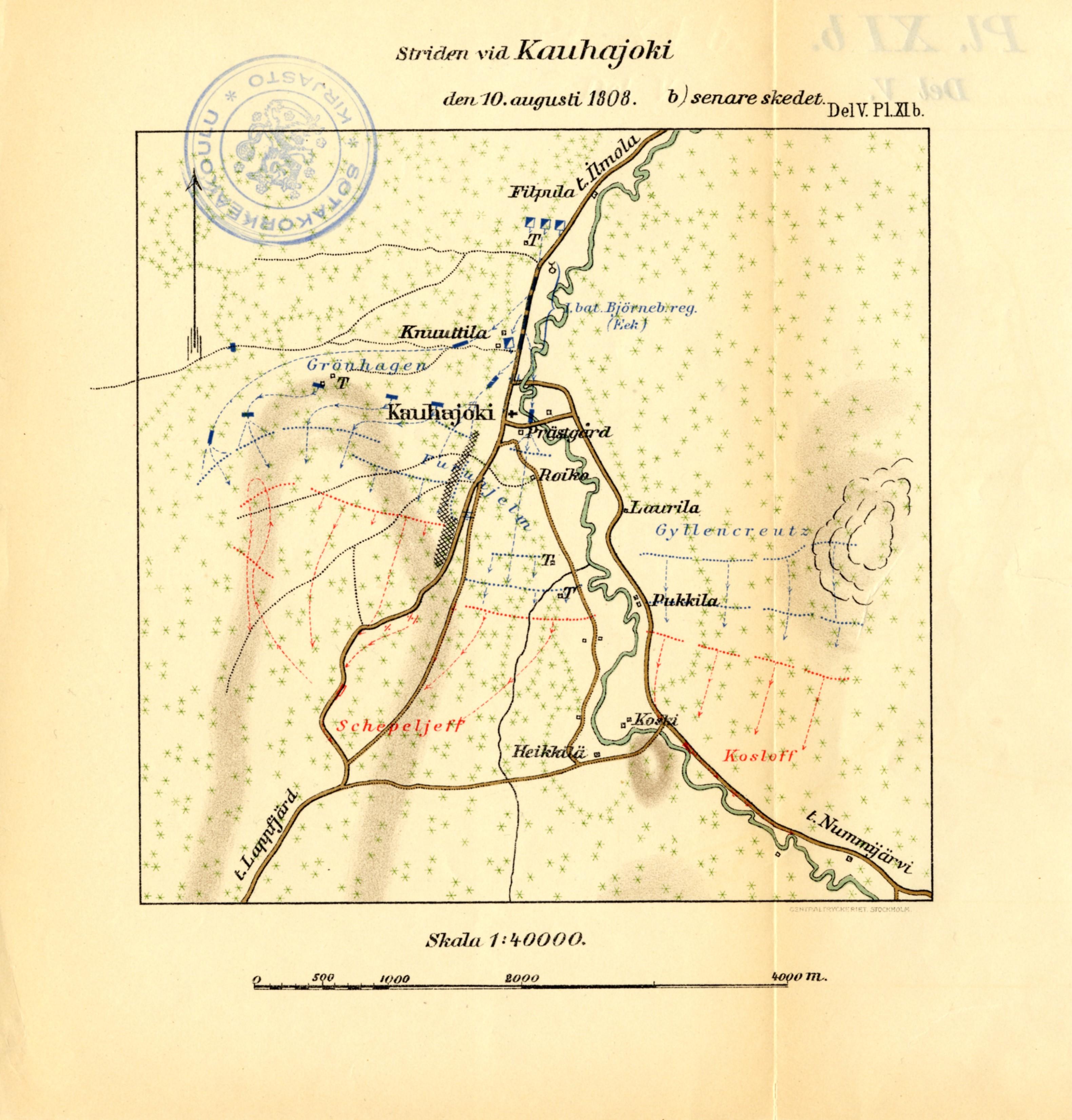 Kauhajoen Taistelu 10 8 1808 Kartta Jyx Expo