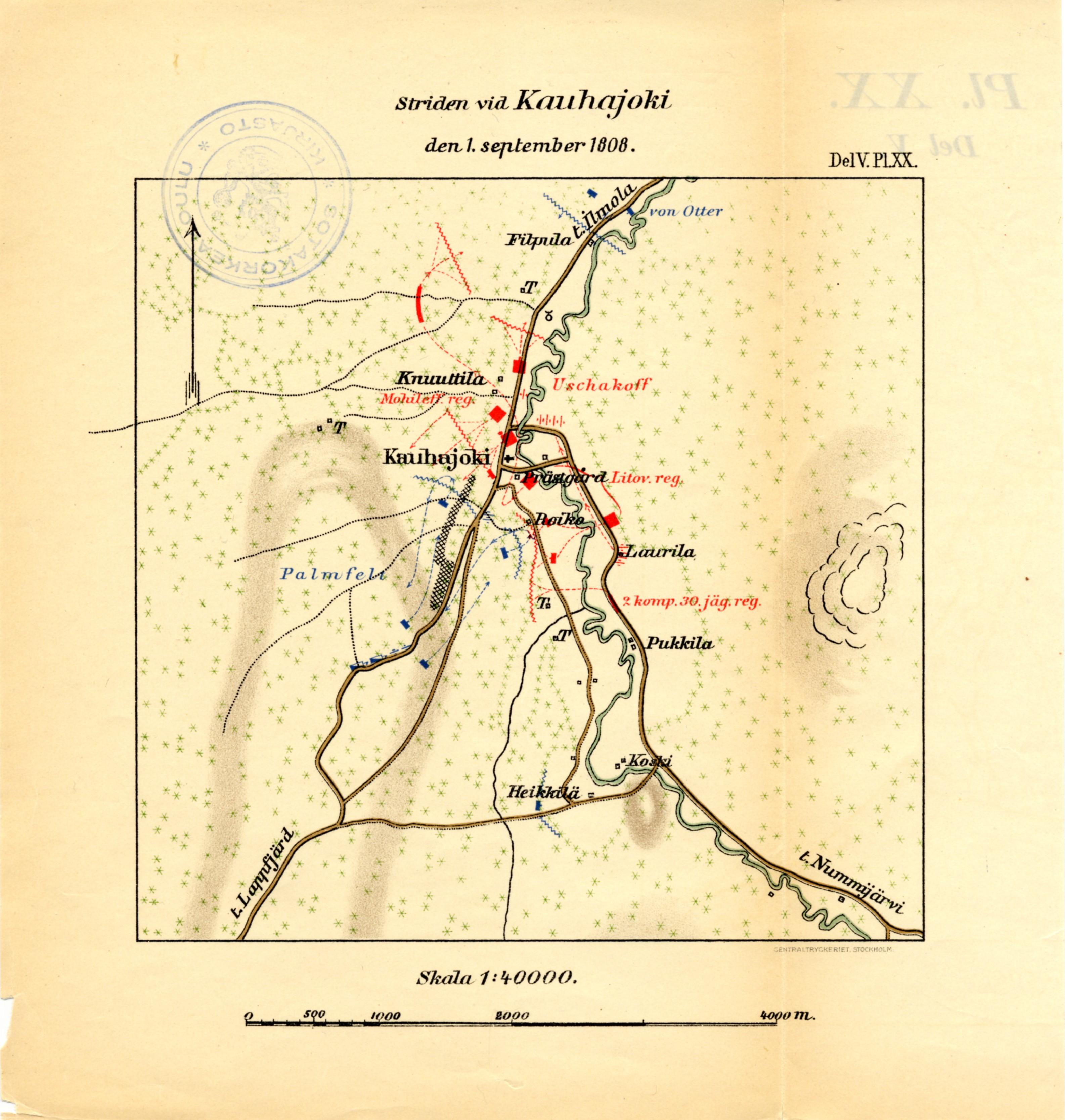 Kauhajoen Taistelu 1 9 1808 Kartta Jyx Expo